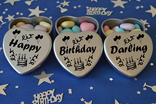 First easter gifts amazon happy birthday darling gift set of 3 silver mini heart tins filled with chocolate dragees perfect birthday gift present tin size 45mm x 45mm x20mm negle Gallery