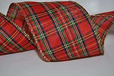 "RIBBON QUEEN Christmas Stewart Tartan 2.5"" Plaid Wire Edged Ribbon"