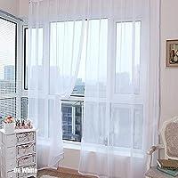 Rungao, color floral, visillo de gasa para decoración del hogar, puertas, ventanas, paño de cortina simple, cenefa, alzapaños., Blanco, Blanco
