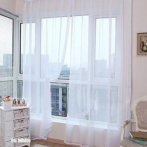 rungao Farbe Floral Voile Vorhang House Decor Tür Fenster Vorhang Panel Sheer Volants Schal, weiß, Weiß (Vorhänge Sheer Weiß)