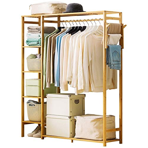 Hongbanlemp Bambus Kleiderbügel Tragbare Übergroße Kleiderständer Aufbewahrungsbox for Eingang Und Schlafzimmer Design (Log Farbe) (Größe : M)