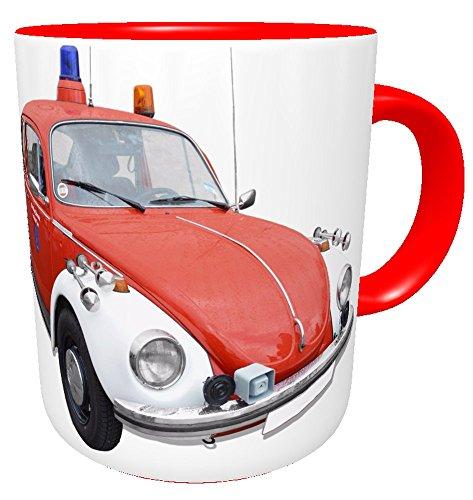 Kaffee-Tasse Feuerwehrauto VW Käfer Oldtimer mit Namen des Feuerwehrmanns, Feuerwehr, Kaffeebecher,...