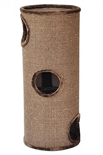 nanook Kratztonne Kratzbaum Condo mit Spielball, Sisal Plüsch, braun 100 cm