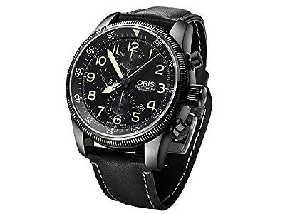 Oris Big Crown Timer Chronograph Watch, Oris 675, Black, Leather Strap