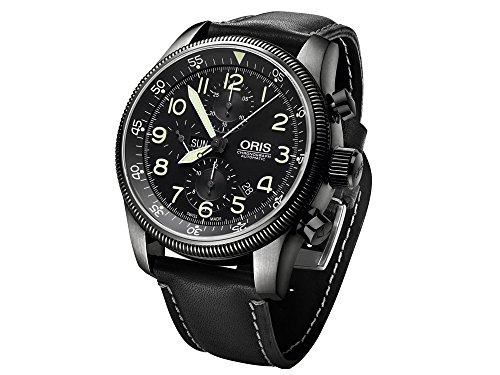 Oris Big Crown Timer Chronograph Uhr, Oris 675, Schwarz, Lederband