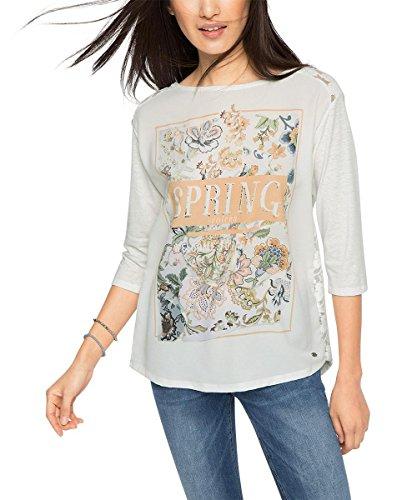 edc by ESPRIT Damen T-Shirt 026cc1k038-mit Rückenteil aus Spitze Weiß (OFF WHITE 110)