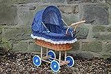 Bukora Puppenwagen aus Weide mit Blau mit Punkten und Holzgriff...extra stabil...