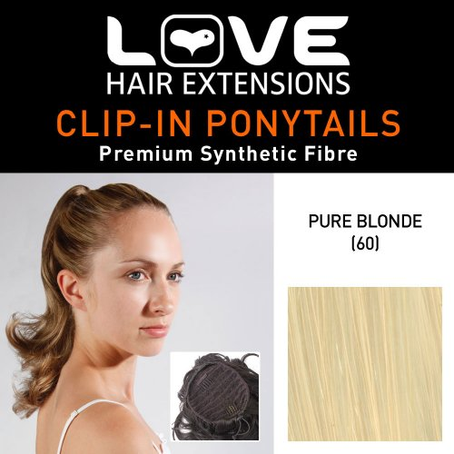 Love Hair Extensions - LHE/N/PERCILLA/DS/60 - Prime de Fibres Percilla - Cordon Coulissant - Queue de Cheval - Couleur 60 - Blond Pur