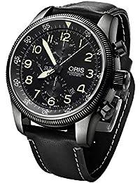 Oris Big Crown Timer Chronograph Uhr, Oris 675, Schwarz, Lederband