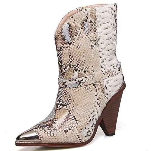 HOESCZS Plus Größe 34-45 Echtes Leder Stiefel Frauen Metall Spitz High Heels Herbst Winter Stiefel Mode Schlange Stiefeletten 6 Schlange (Echte Schlange Stiefel)