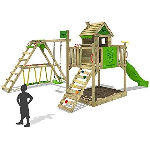 FATMOOSE Kinder-Kletterturm RockyRanch Roll XXL mit schwingendem Surfbrett Spielturm Spielhaus auf Podest mit Veranda Schaukel Rutsche Kletterleiter und großem