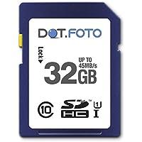 Dot.Foto - 32 Go Carte mémoire SDHC Classe 10 UHS-1 - 45Mo/sec pour Sony Cyber-shot DSC-H55, DSC-H70, DSC-H90, DSC-H200, DSC-H300, DSC-H400, DSC-HX5, DSC-HX5V, DSC-HX7, DSC-HX7V, DSC-HX9, DSC-HX9V, DSC-HX5, DSC-HX5V, DSC-HX10, DSC-HX10V, DSC-HX20V, DSC-HX30, DSC-HX30V, DSC-HX50, DSC-HX50V, DSC-HX60, DSC-HX60V, DSC-HX100, DSC-HX100V, DSC-HX200, DSC-HX200V, DSC-HX300, DSC-HX400, DSC-HX400V