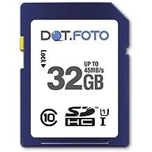 Dot.Foto Scheda di Memoria Alta velocità SDHC da 32 GB, fino a 45 MB/sec, Classe 10 UHS-1 per Sony NEX-3, NEX-3N, NEX-3NL, NEX-3NY, NEX-5, NEX-5N, NEX-5ND, NEX-5NK, NEX-5NY, NEX-5R, NEX-5RK, NEX-5RL, NEX-5RY, NEX-5T, NEX-5TL, NEX-5TY, NEX-6, NEX-6L, NEX-6Y, NEX-7, NEX-7K, NEX-C3, NEX-C3A, NEX-C3D, NEX-C3K, NEX-F3, NEX-F3D, NEX-F3K, NEX-F3Y, NEX-FS100E, NEX-VG10E, NEX-VG20E, NEX-VG20H, NEX-VG30, NEX-VG900, NEX-EA50, NEX-FS100, NEX-FS100EK / HXR-NX5, HXR-NX30