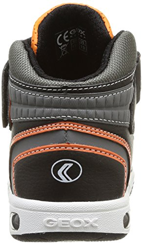 Geox Jr Gregg, Baskets mode garçon Multicolore (Black/Orange)