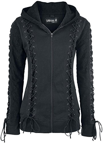 Gothicana by EMP Lace Hood Felpa jogging donna nero S