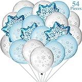 Gejoy Winter-Thema Luftballons Set, Enthält 50 Stücke Schneeflocken Latex-Luftballons und 4 Stücke Schneeflocke Folienballons für Baby Dusche Geburtstag Weihnachten Party Dekoration