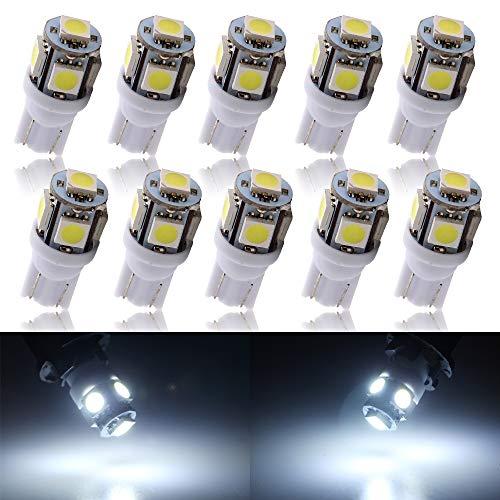 Grandview 10-Pack T10 501 W5W 194 168 Bianco 5-SMD 5050 LED interni auto, targa, Dashboard di avvio lampadine (12 V)