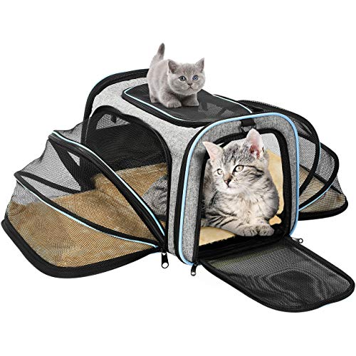 OMORC Hundetasche Faltbare Transporttasche Hunde für Reise Transportbox Hunde und Katzen mit Schultergurt und Tragegriffe Hundetragetasche mit weicher Hundekorb im Flugzeug, Auto oder in der Bahn - Transportbox Katze