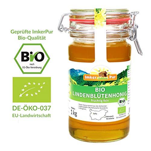 Bio-Lindenblüten-Honig von ImkerPur, 1 kg, im wiederverw. Vorratsglas, naturbelassen, fein-fruchtig, mit einer erfrischenden Zitronen-Note (Bio-bienenhonig)