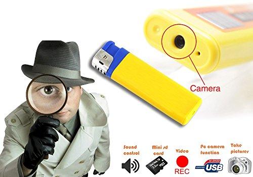 Feuerzeug mit Spionagekamera, Audio-Video-Kamera mit einer Auflösung von 1280 x 960 Pixel, mit Micro SD Steckplatz und USB-Anschluss, mws1337