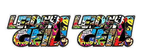 Leider Geil Stickerbomb Auto Motorrad Bike Skateboard Surfboard Koffer Aufkleber Sticker + Gratis Schlüsselringanhänger aus Kokosnuss-Schale + Laptop Tuning Racing Motorsport Hoonigan JDM (2 Aufkleber 15x7.5cm) (Geile Marines)