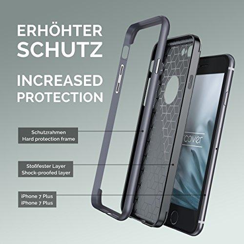 URCOVER® Housse Carbon Protection   Apple iPhone 7 Plus   TPU Plastique in Dore   Coque Double Mince Anti-choc Étui Bumper Coquille Deux Côtés Armor Cover Case Élegant Gris