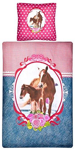 Aminata Kids - Kinder-Bettwäsche-Set 135-x-200 cm Pferd-e-Motiv Sache-n Mädchen Haus-Tier-e Zwei-teilig-e 100-% Baumwolle Renforce rosa pink braun blau Teenager-Jugendlich-e (Braun Mädchen Und Bettwäsche Rosa Baby)