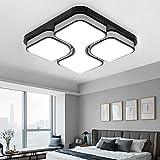 MYHOO 64W LED Blanco frío Luz de techo Diseño de moda moderna plafón,Lámpara de Bajo Consumo Techo para Dormitorio,Cocina,oficina,Lámpara de sala de estar,Color Negro (64W Blanco frío)