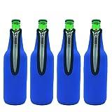 Wommty 500ML (17,6 Unzen) Neopren Isoliert Reißverschluss Bierflaschen Kühler Bier Flachmänner / Bier Dosenkühler / Bier Weinkühler / Bier Getränkekühler / Bier Flaschenkühler für Bar, Geburtstag, Outdoor Abendessen (Blau)