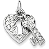Sterling Silver CZ Heart Lock and Key Charm