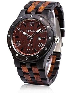 Bewell W109A Herrenuhr Quarzwerk Analog Armbanduhr mit Kalender Display Retro Stil (Rund Zifferblatt) (Schwarz...
