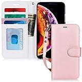 FYY Coque iPhone XR, Étui Portefeuille en Cuir PU Haut de Gamme avec [béquille] [Bracelet] [Housse en Caoutchouc Anti-Choc] pour Apple iPhone XR (6.1 Pouces) (2018) Rose Or