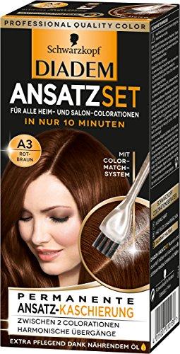 Schwarzkopf Diadem Ansatzset Haarfarbe, A3 Rotbraun, 3er Pack (3 x 22 ml)