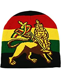 Rasta Knit Beanie Hat Gold Lion Of Judah Print Red Yellow Green Black One Size