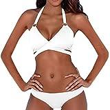 LeeY Mode Damen Bikini-Sets, Sexy Hochdrücken Gepolstert Bademode Bandage Patchwork Badeanzüge Sommer Strandkleidung Solide Niedrige Taille Bikini Badekostüme (Weiß, S)