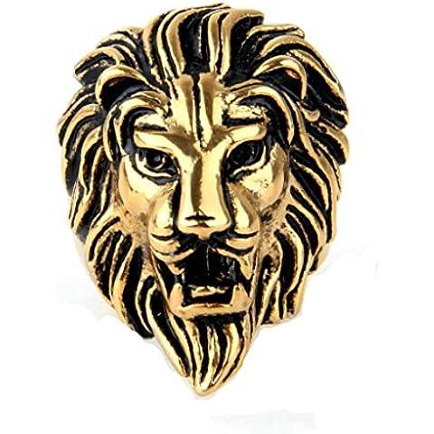 Vmculb Manera Joyería Acero Inoxidable Anillo Hombre de León 'Cabeza Punk Plata Oro Anillos de los