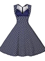 Miusol Women's Blue Polka Dot V Neck Low Cut Skater Dress