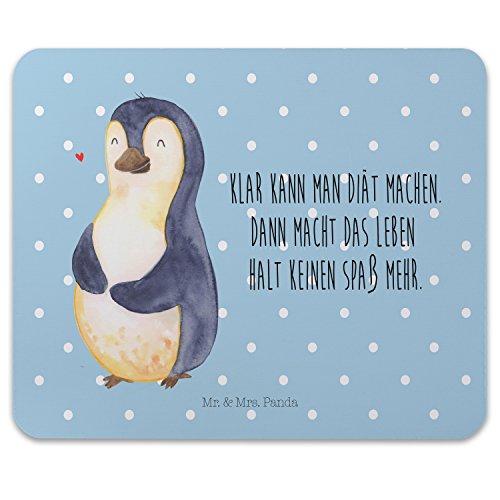 Mr. & Mrs. Panda Computer, Mousepad, Mauspad Pinguin Diät mit Spruch - Farbe Blau Pastell -