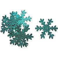 Confettis Flocon Neige Pailleté bleu Turquoise - Décoration table Fête Noël Hiver (fait à la main)
