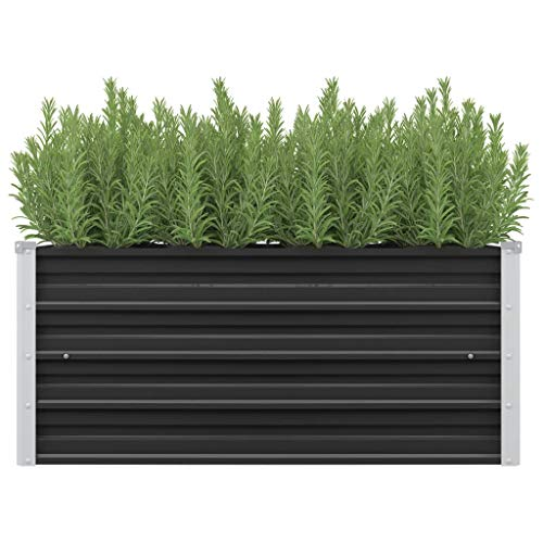 vidaXL Pflanzkübel Hochbeet Blumenkasten Garten Pflanzkasten Terrassen Gemüsebeet Gartenbeet Pflanzbeet Anthrazit 100x40x45cm Verzinkter Stahl