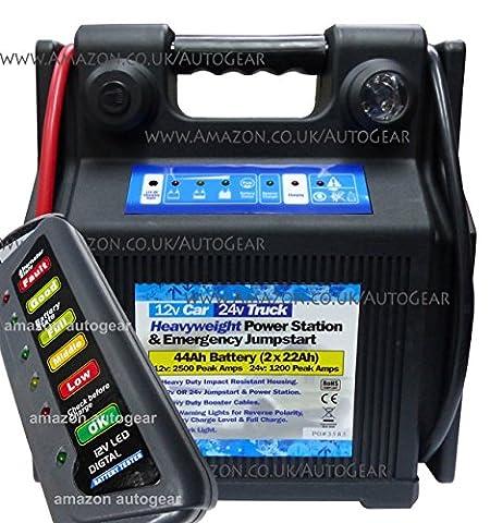 12v Car 24v Truck 44Ah Heavyweight Heavy Duty Portable Emergency Battery Booster Jump Start Starter Power Pack Station, LED Work Light Includes 12v Battery & Alternator