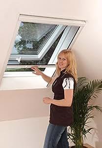 Moustiquaire Vélux fenêtre de toit enroulable en ALU Blanc L130 x H160 cm