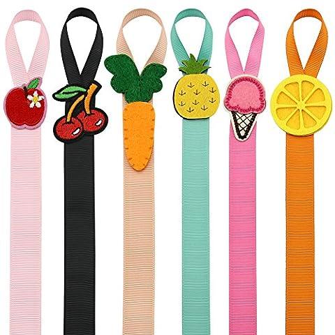 QtGirl Petites Fille Fruits Porte cheveux 6 pièces 45cm Longue Arc Cintre Pinces à cheveux Organisateur de stockage