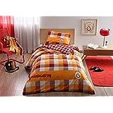 Fan Artículo Galatasaray GS Ekose juvenil cama cama edredón (160x 220cm), 100% algodón, con funda nórdica, sábana Acke (100x 200cm) y funda de almohada (50x 70cm) fabricado en Turquía