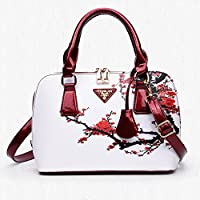 Bangle009 Elegant Chic Lady Shell Bag Cross Body Floral Print Faux Leather Handbag Gift White