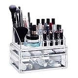 Relaxdays Make-Up Organizer mit 2 Schubladen, Make Up Kit für Lippenstift,...