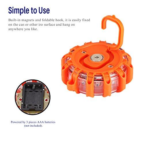Greenbang-LED-Road-Flare-LED-Flare-di-sicurezza-lampeggiante-luce-davvertimento-con-gancio-di-supporto-10-modalit-lampeggiante-Torcia-stroboscopica-SOS-batteria-Operate-per-per-Marine-Boat-Rescue-Camp