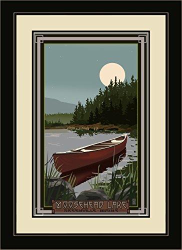 Northwest Art Mall mr-3234mfgdm CIM Moosehead Lake Greenville Maine Kanu in Moonlight gerahmt Art Wand von Künstler Mike rangner, 13von 40,6cm