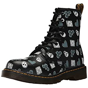 Dr. Martens Delaney Y Pc, Stivali Classici Unisex-Bambini, Multicolore (Black Playing Cards Multi K 001), 38 EU