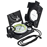 Militär Marschkompass Professioneller Taschenkompass Kompass Peilkompass mit Klinometer Tragschlaufe Tasche für Jagd Wandern und Aktivitäten-Schwarz